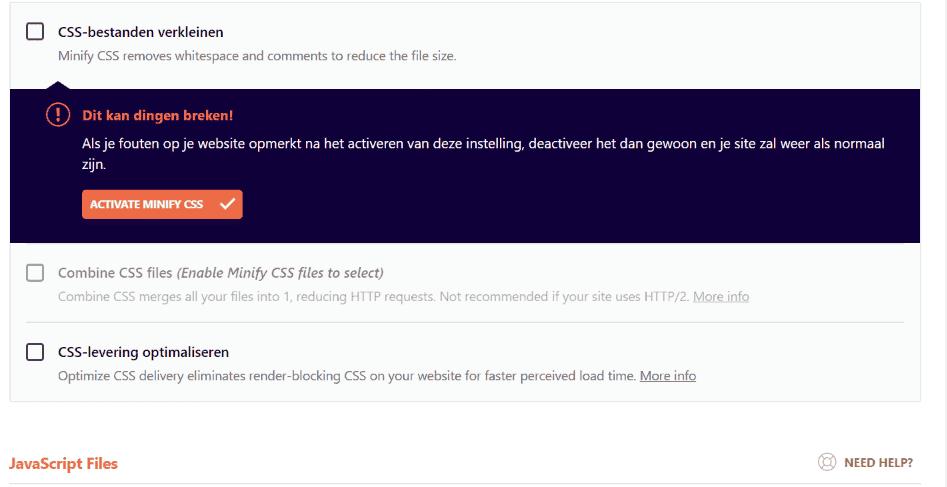 WP Rocket - Waarschuwing CSS bestanden verkleinen