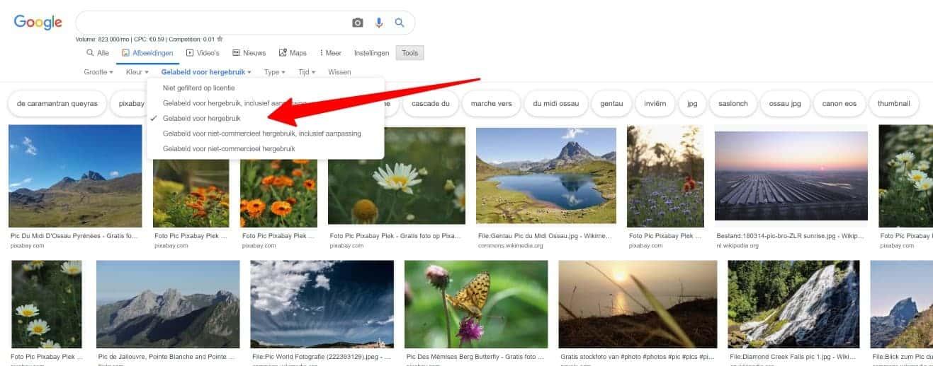 Google afbeedlingen filteren