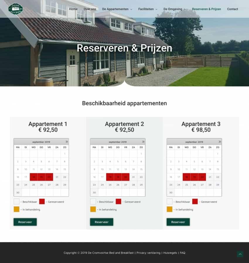 De Cromvoirtse - Reserveren Prijzen