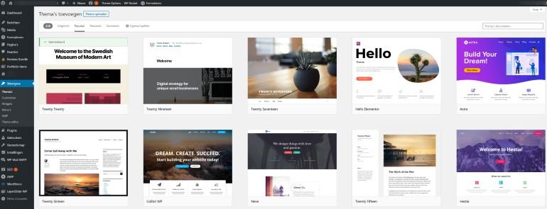 Divesre WordPress thema's in het dashboard