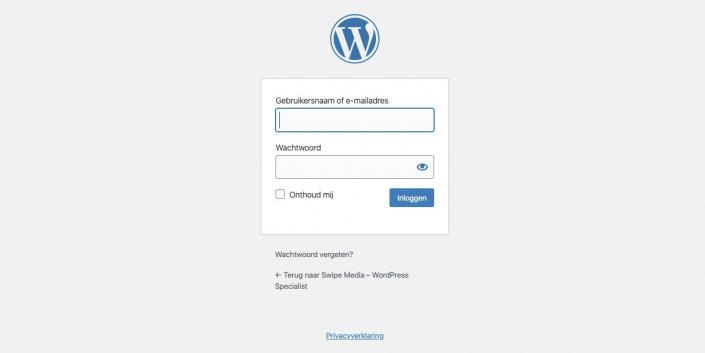 WordPress inlogscherm -wpadmin